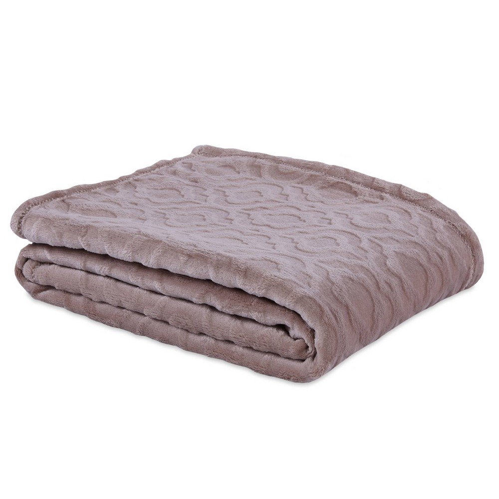 Image of Embossed Damask Plush Throw Doe - Better Living