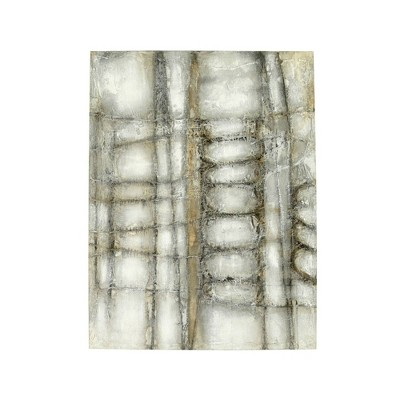 """39.5"""" Hand Painted Abstract Framed Wall Canvas with Web Texture - 3R Studios"""