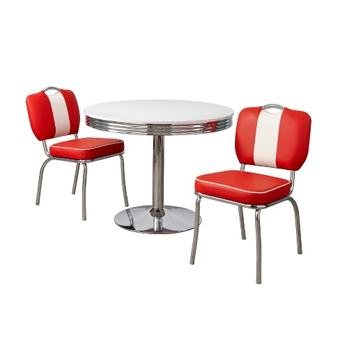 3pc Raleigh Retro Dining Set White Red, Retro Dining Room Sets
