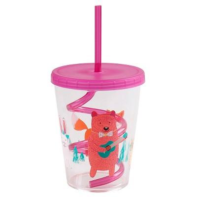 Animals Cup with Swirly Straw 15oz Pink - Circo™
