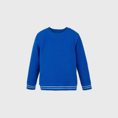 Boys' Cozy Sherpa Crew Pullover Sweatshirt - Cat & Jack™ Blue
