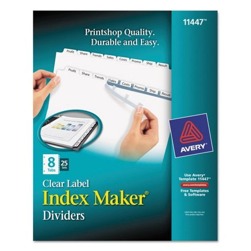 Avery Index Maker Label Dividers With 8 Tab Letter Clear 25 Pk