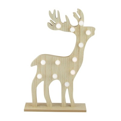 """Northlight 15.75"""" Pre-Lit Brown Battery Operated LED Reindeer Christmas Figurine"""