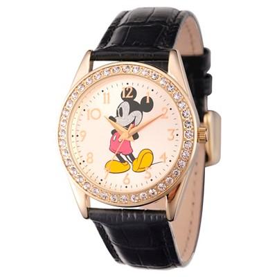 Men's Disney Mickey Mouse Gold Alloy Glitz Watch - Black