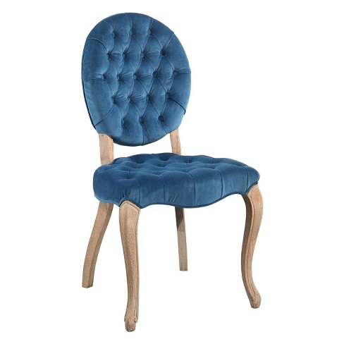 Groovy Florie Vintage Oval Tufted Velvet Dining Chair Blue Abbyson Living Bralicious Painted Fabric Chair Ideas Braliciousco