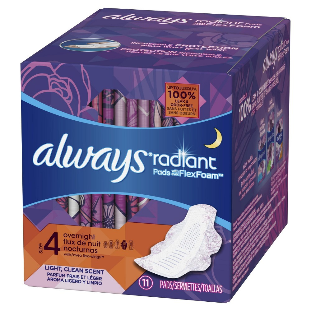 Always Radiant Overnight with Wings Flex Foam Scented Pads - 11ct