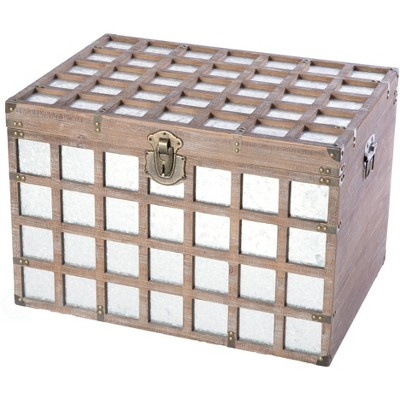 Vintiquewise Vintorary Wooden Rectangle Galvanized Metal Lined Storage Trunk, Large