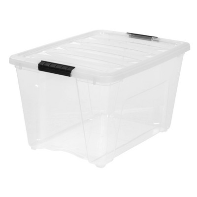 IRIS 5pk 53qt Stack and Pull Storage Bin Latching Clear