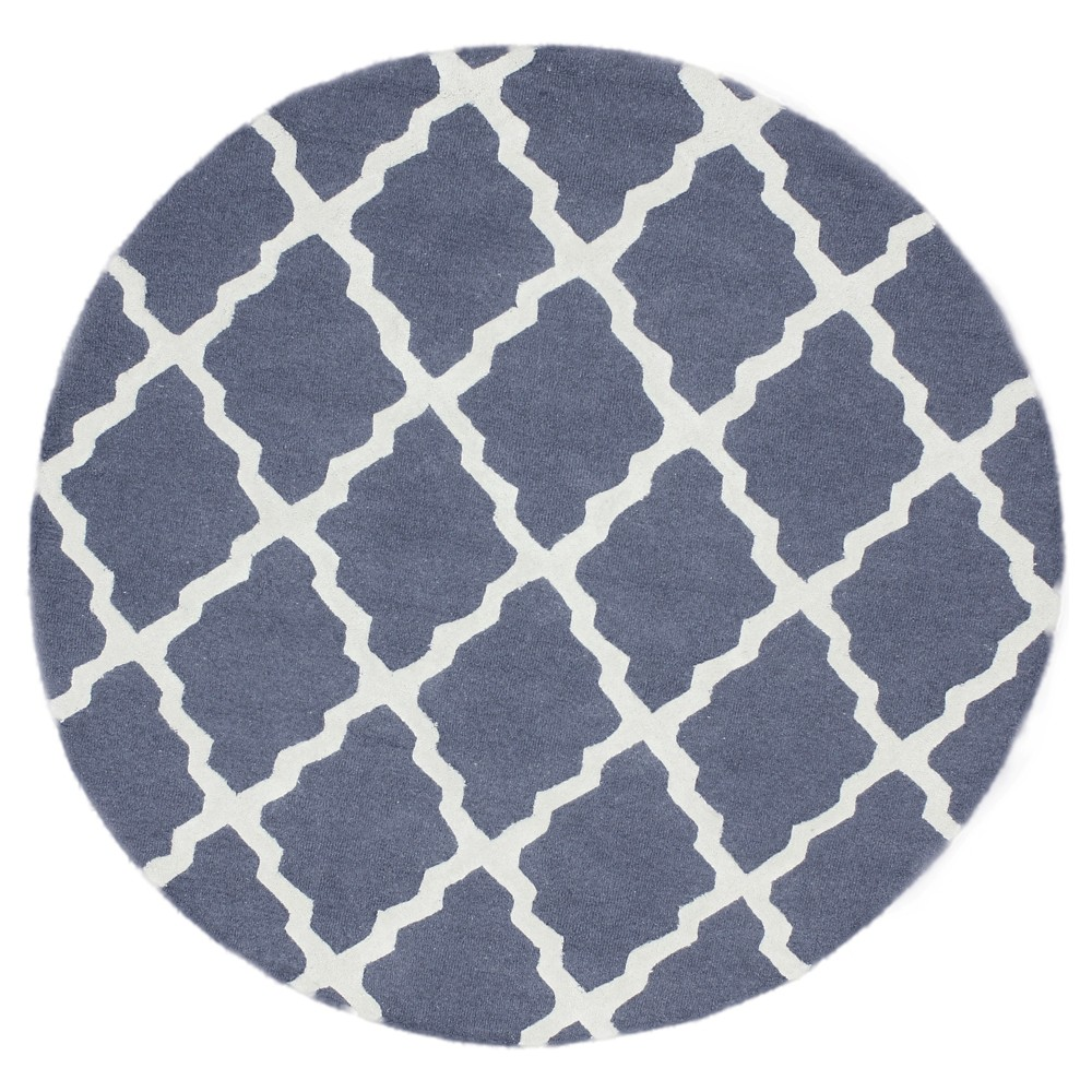 nuLOOM 100% Wool Hand Hooked Marrakech Trellis Area Rug - Blue (6' x 6' Round), Blue Gray