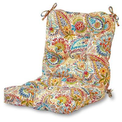 Painted Paisley Outdoor Seat/Back Chair Cushion - Kensington Garden