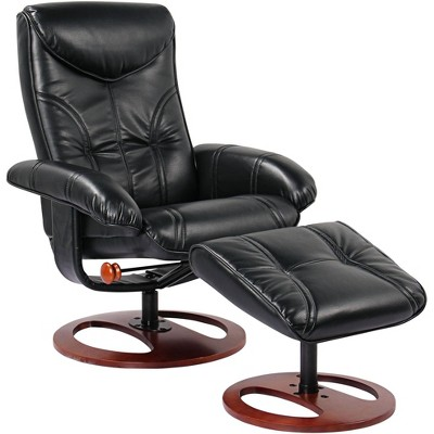 BenchMaster Newport Black Swivel Recliner and Slanted Ottoman