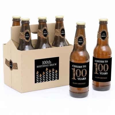 Big Dot of Happiness Adult 100th Birthday - Gold - Birthday Party Decorations for Women and Men - 6 Beer Bottle Label Stickers and 1 Carrier