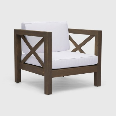 Brava Acacia Wood Club Chair Gray/White - Christopher Knight Home