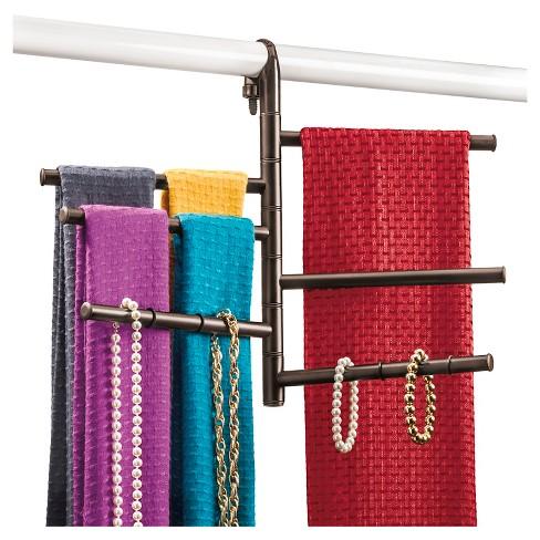 fabbb90b60b Lynk Hanging Pivoting Scarf Rack And Accessory Holder - Closet Hanger  Organizer Rack - Bronze   Target