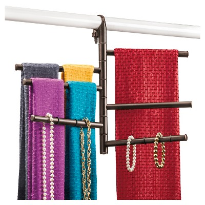 Lynk Hanging Pivoting Scarf Rack And Accessory Holder   Closet Hanger  Organizer Rack   Bronze : Target