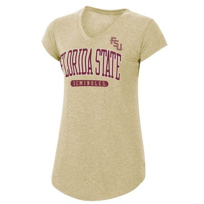 NCAA Florida State Seminoles Women's Tan Short Sleeve V-Neck T-Shirt