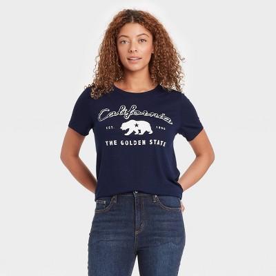 Women's Short Sleeve Golden State Bear Graphic T-Shirt - Modern Lux Navy