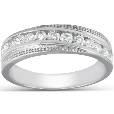 Pompeii3 1/2 Ct Mens Diamond Wedding Ring With Bead Accent High Polished 10k White Gold