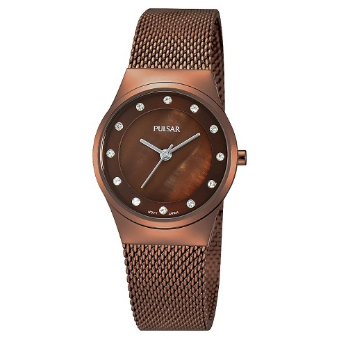 Women's Pulsar Mesh Bracelet Watch with Crystals from Swarovski Accents - Brown - PH8055 - image 1 of 1