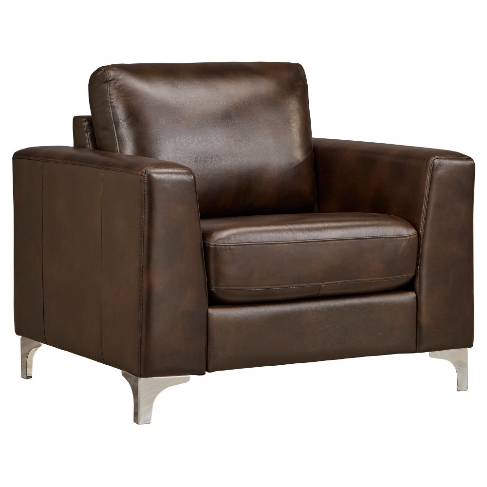 Anson Leather Arm Chair - Chocolate (Brown) - Inspire Q