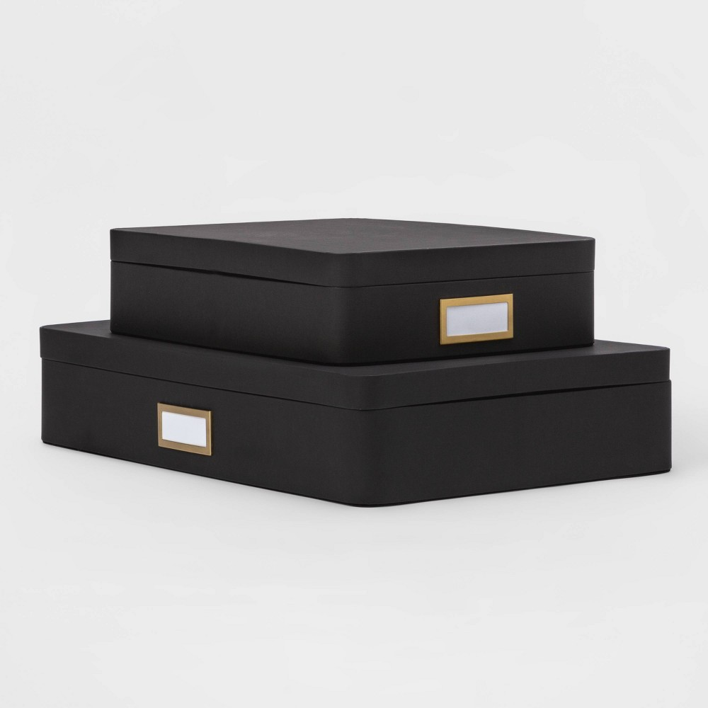 2pk Paperboard Storage Boxes Black Project 62 8482
