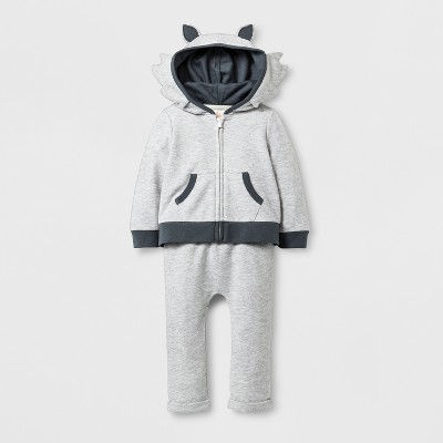 Baby Boys' 2pc Wolf Hooded Sweatshirt and Jogger Set - Cat & Jack™ Gray 3-6M