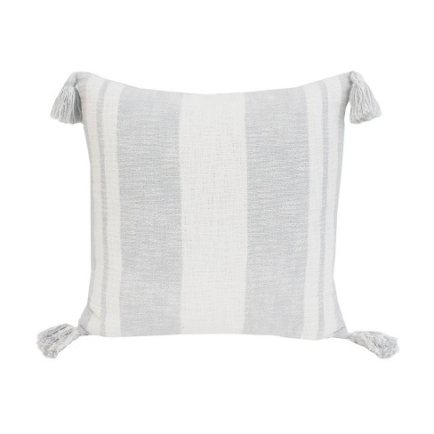 Sophia Stripe Printed Cotton Corner Tassel Pillow Feather - Décor Therapy - image 1 of 4