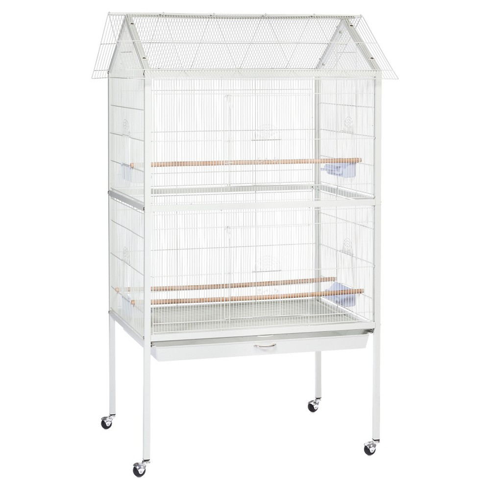 Prevue Pet Products Aviary Flight Cage With Stand White Large