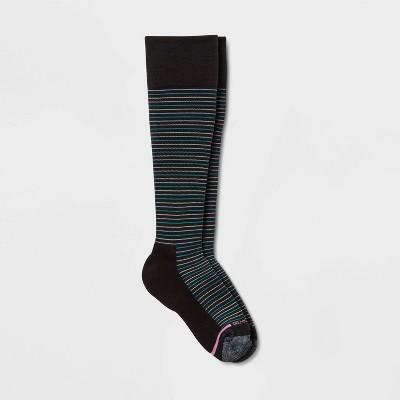Dr. Motion Women's Striped Half-Cushion Mild Compression Knee High Socks - Black 4-10