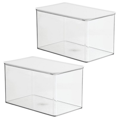 mDesign Plastic Stackable Kitchen Storage Container Bin with Lid, 2 Pack