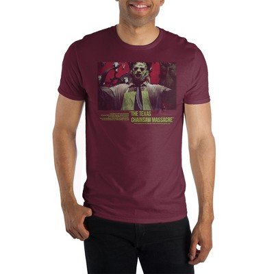 Texas Chainsaw Horror Movie Mens Short Sleeve Maroon Shirt