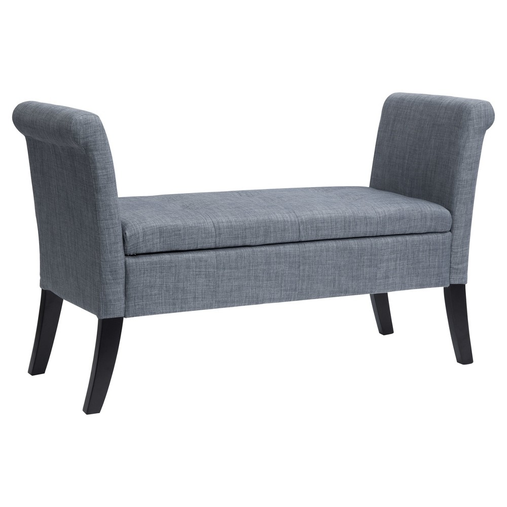 Antonio Storage Bench with Scrolled Arms - Blue Gray - Corliving