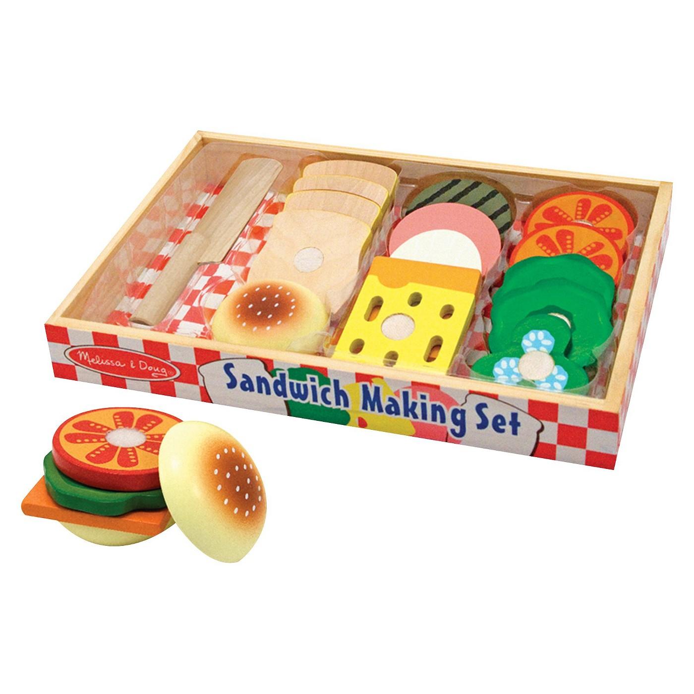 Wooden Sandwich-Making Pretend Play Food Set