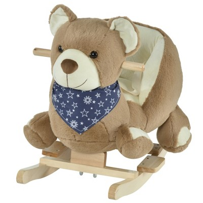 Qaba Kids Ride-On Rocking Horse Toy Bear Style Rocker with Fun Music & Soft Plush Fabric for Children 18-36 Months