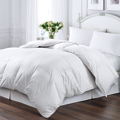 Kathy Ireland Home Soft Micro Fiber Solid Cover Cozy Feather & Down Blended Comforter, White