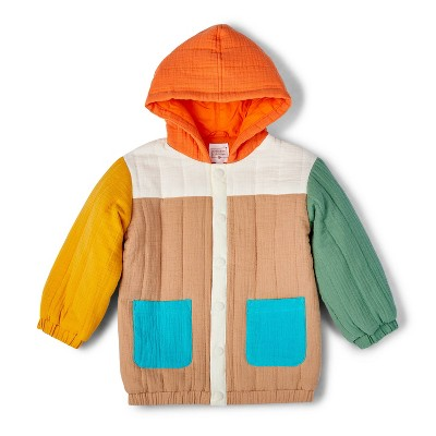 Toddler Color Block Quilted Hooded Jacket - Christian Robinson x Target Beige