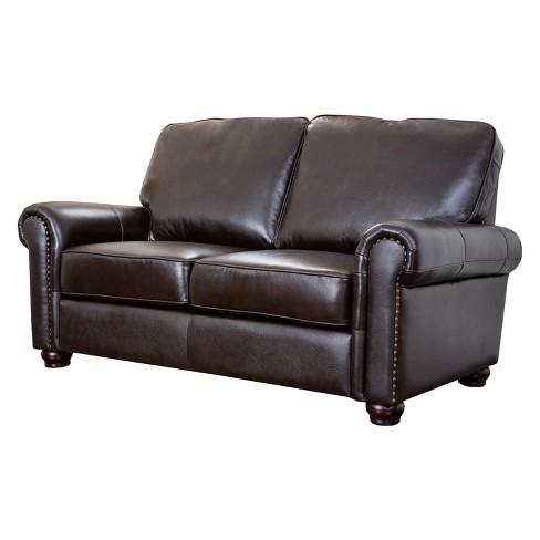 Darlington Top Grain Leather Nailhead Loveseat Brown - Abbyson Living
