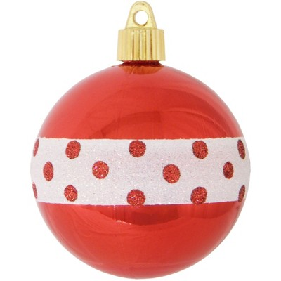 """Christmas by Krebs 4ct Red and White Dotted Band Shatterproof Shiny Christmas Ball Ornaments 3.25"""" (80mm)"""