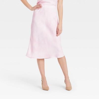 Women's High-Rise Midi Slip A-Line Skirt - A New Day™