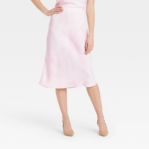 Women S High Rise Midi Slip A Line Skirt A New Day Pink M