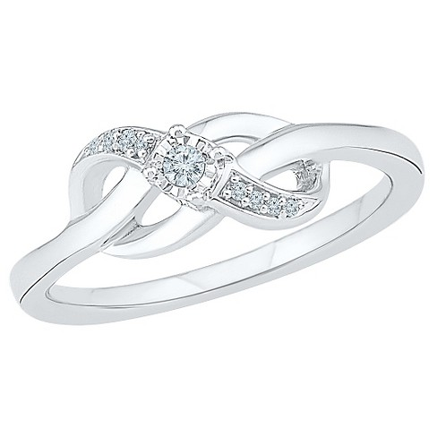 0b4b73df3a 1/20 CT.T.W Round White Diamond Knot Promise Ring In Sterling Silver ...