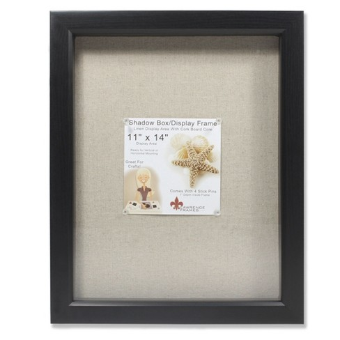 11x14 Linen Inner Display Shadow Box Frame Black Lawrence Frames
