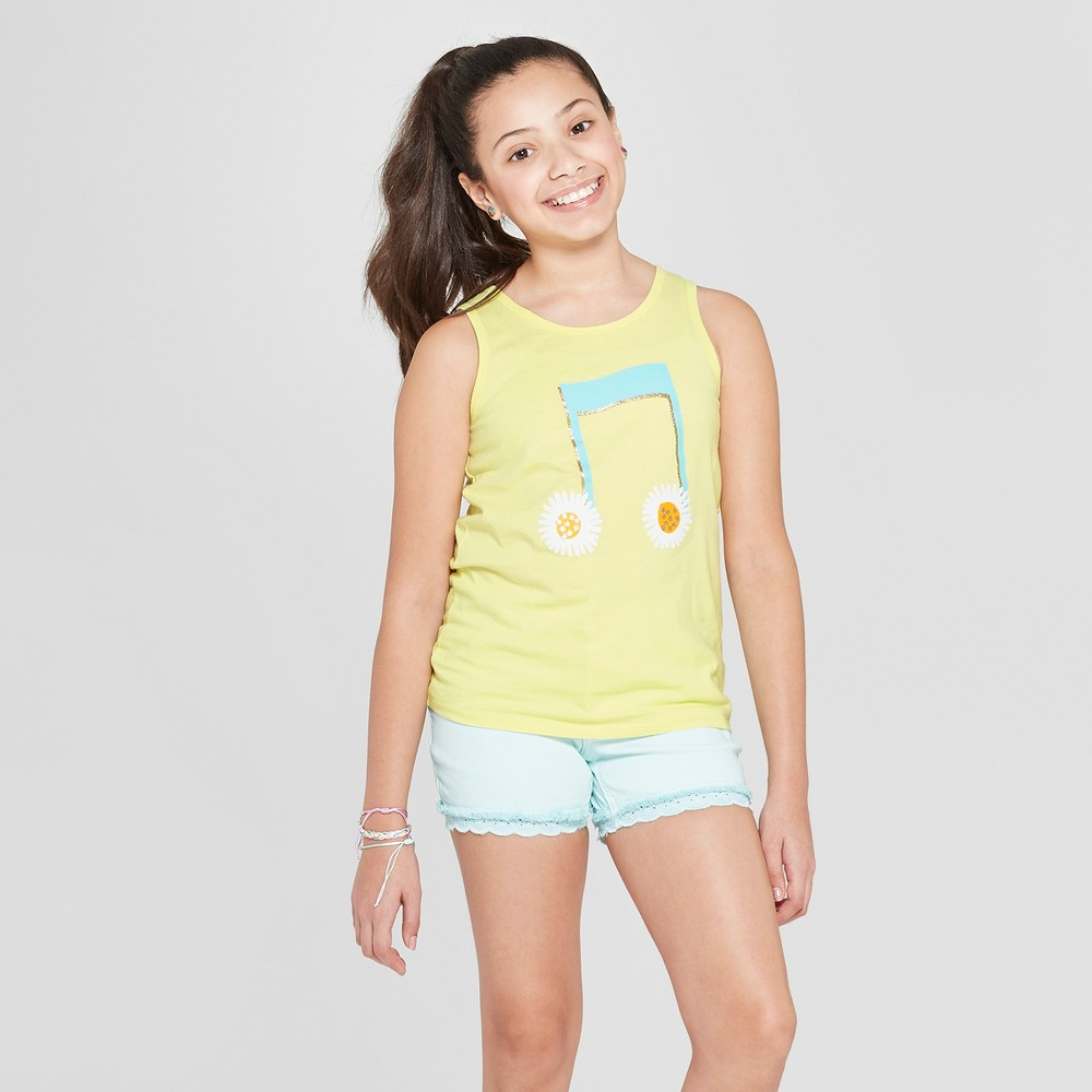 Girls' Music Note Graphic Tank Top - Cat & Jack Yellow L