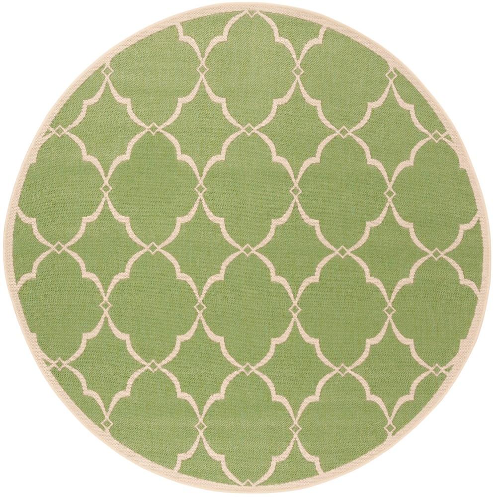 67 Round Geometric Loomed Area Rug Olive - Safavieh Discounts