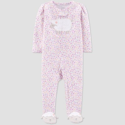 Baby Girls' Floral Sheep Embroided Sleep 'N Play One Piece Pajama - Just One You® made by carter's Purple Newborn