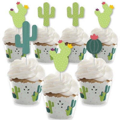 Big Dot of Happiness Prickly Cactus Party - Cupcake Decoration - Fiesta Party Cupcake Wrappers and Treat Picks Kit - Set of 24