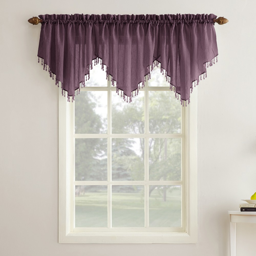 Erica Crushed Sheer Voile Beaded Ascot Curtain Valance Purple 51x24 - No. 918