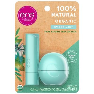 eos Natural Stick and Sphere Lip Balm - Sweet Mint - 2pk/0.39oz