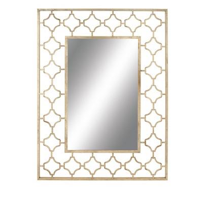 """50"""" x 38"""" Modern Quatrefoil Iron Wall Mirror - Olivia & May"""