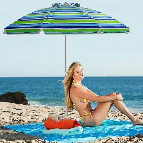 Costway 6.5FT Patio Beach Umbrella Sun Shade Tilt W/Carry Bag Turquoise - image 1 of 4